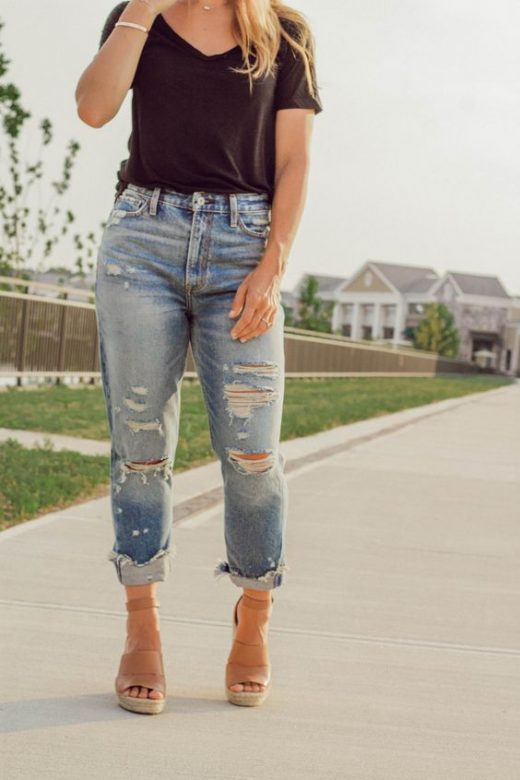 DIY distress denim jeans
