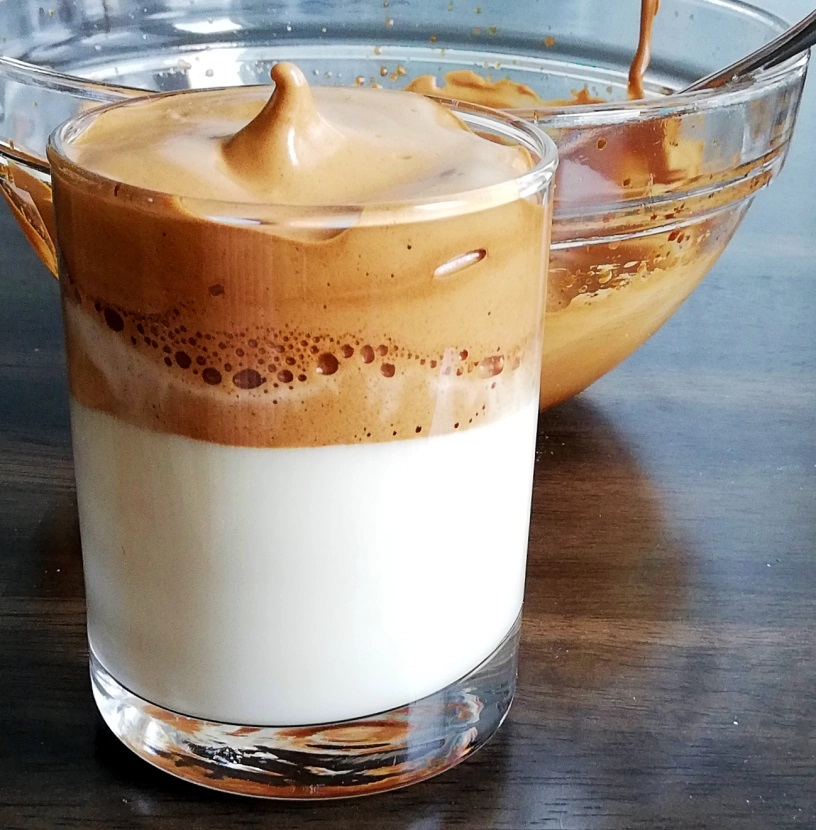 Dalgona Coffee in three diferent flavors