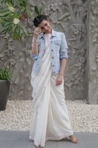 wearing denim jackets with saree