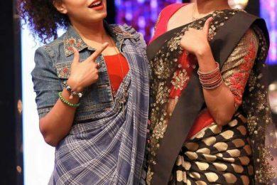 wearing denim jackets with saree