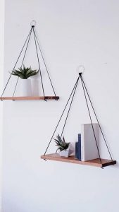 Use hanging shelves for growing plants indoor
