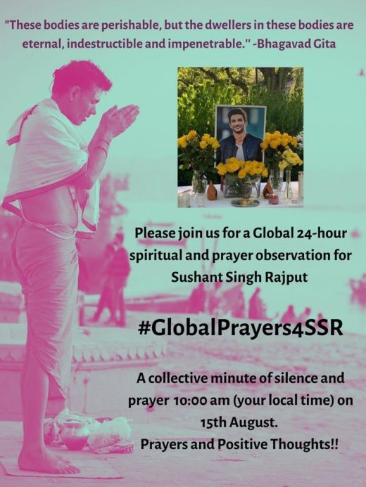 24 hour Global Prayer for Sushant Singh Rajput