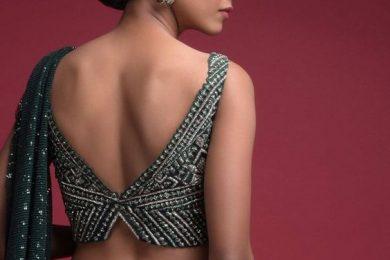 Back Blouse Neck Design In V Cut