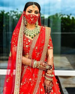 Indian brides with matching face mask