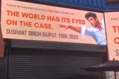 #JusticeForSushantSinghRajput Billboard Up In Hollywood