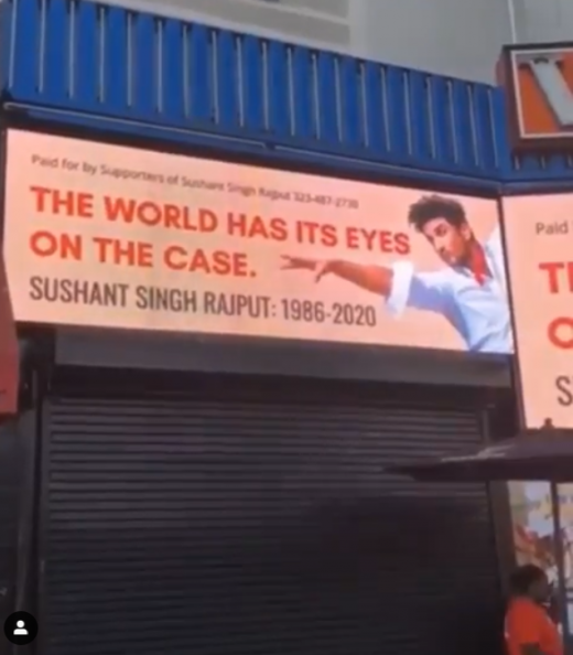 Justice for Sushant Singh Rajput billboard in Hollywood