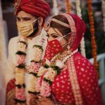 Modern Indian brides match face mask with their attires