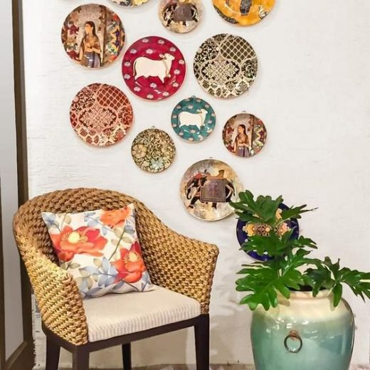 Home decor with decorative ceramic plates