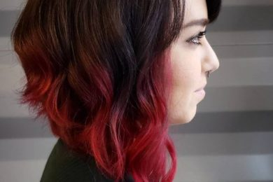 Red colored short hairstyles