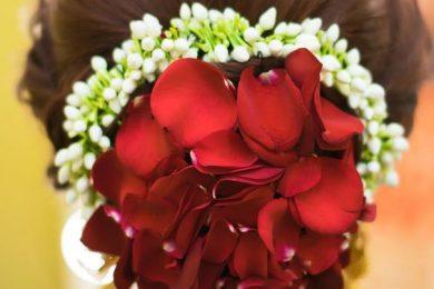 Rose petals to highlight bridal buns