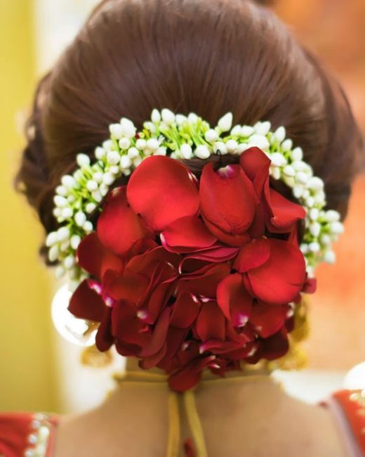 Rose petals to highlight bridal buns