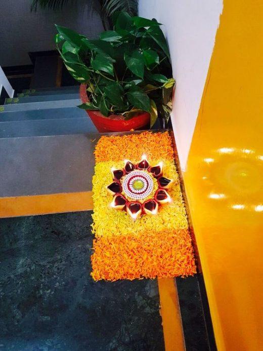 Flower petals rangoli designs for Diwali
