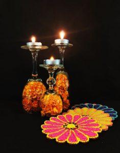 Wine glasses diwali decor ideas