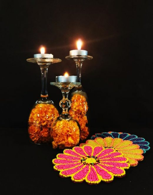 Wine glasses diwali decor ideas