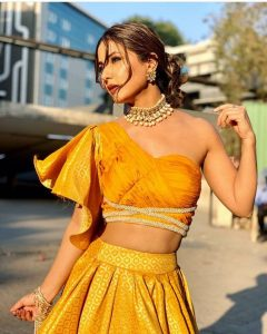 One shoulder blouse with lehnga