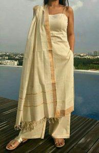 White mangalgiri kurta salwar designs