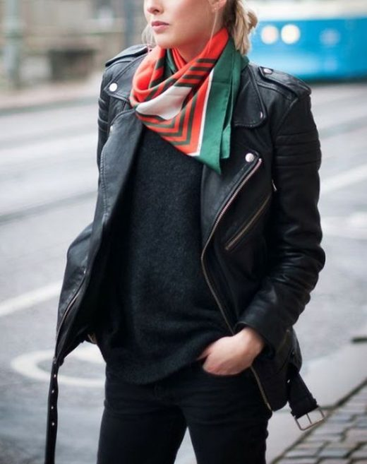 wear printed scarf with plain sweaters