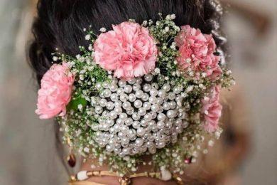 Bridal bun ideas adorned with pearls