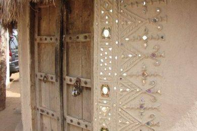 Lipan, mud and mirrorwork artwork of Kutch, Gujarat, India