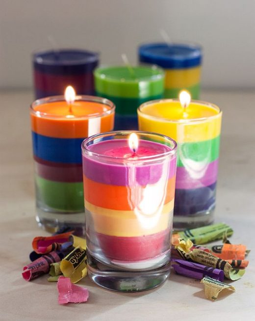 DIY candles with leftover crayons