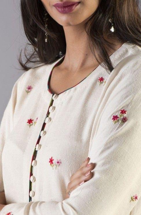 Potli button neckline design for kurta and kurti