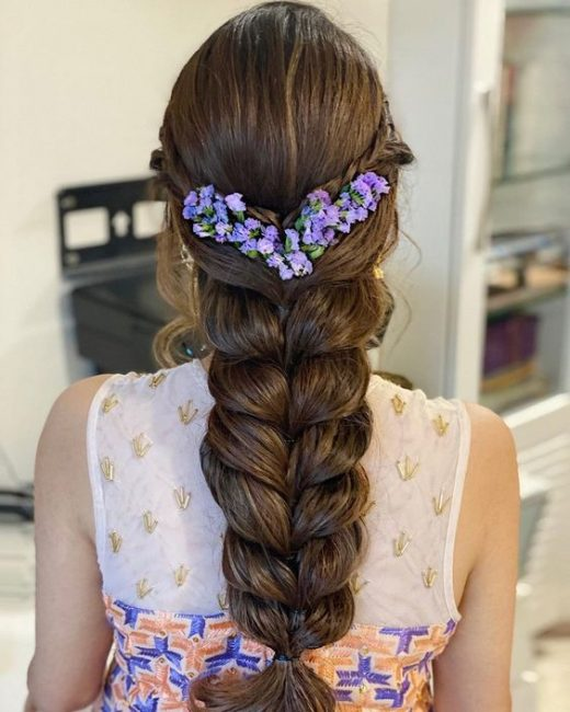 Bridal braids with real flowers