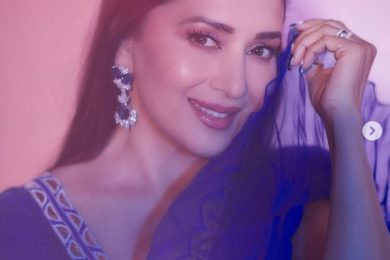Madhuri Dixit looks surreal in a blue modern top and embroidered skirt-Threads-WeRIndia