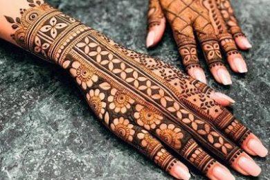 Negetive space style bridal mehndi designs