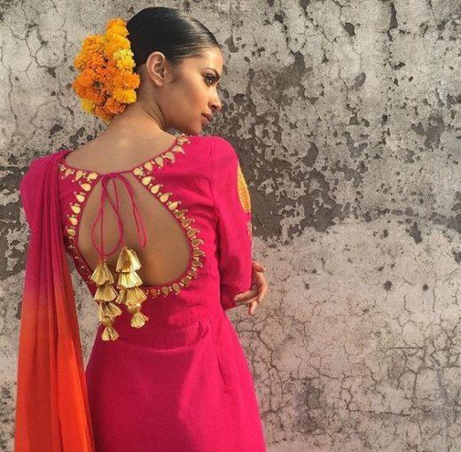 Back neckline designs with tassels and doori for kurta