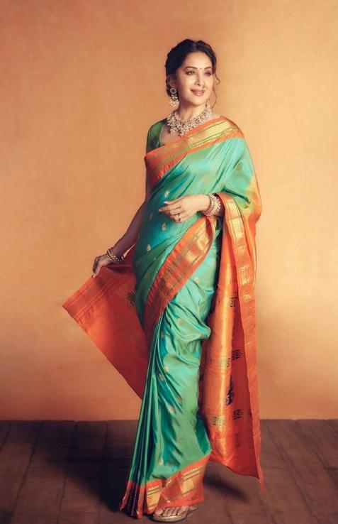 Madhuri Dixit looks gorgeous in a silk saree