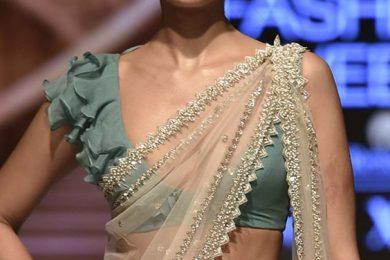 Saree blouse design with frills-Threads-WeRIndia