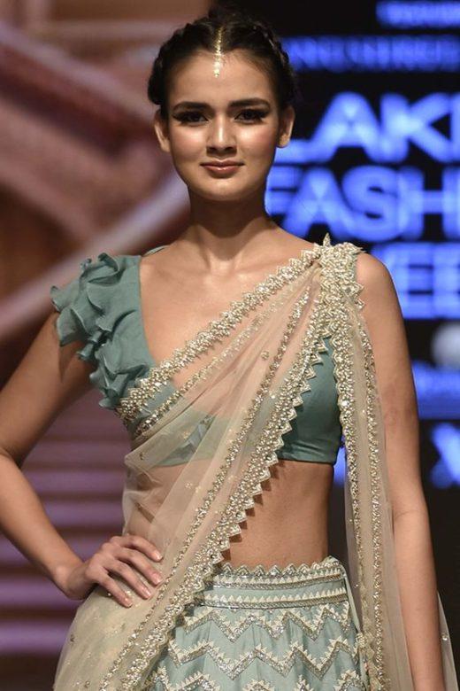 Saree blouse design with frills